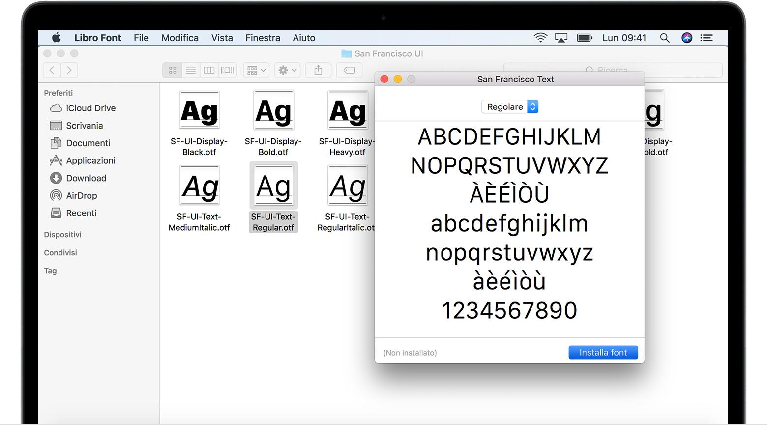 Come installare e rimuovere i font sul Mac - Supporto Apple
