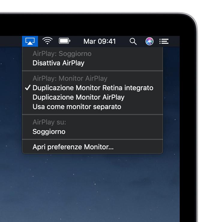 Usare AirPlay per riprodurre video in streaming o duplicare lo schermo del dispositivo - Supporto Apple